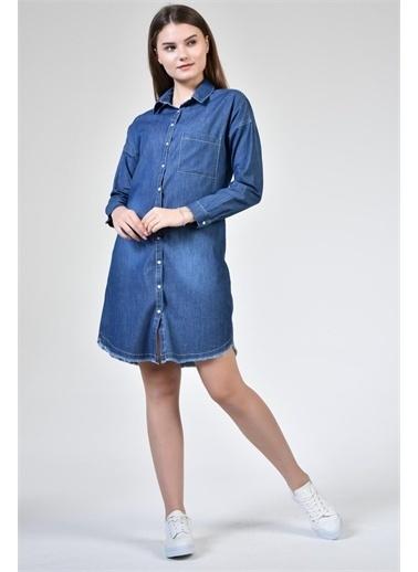 Rodi Jeans Kadın Denim Uzun Kollu Tunik DS21YB255593 Mavi